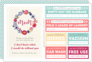 Colorful Chores Coupon Mother's Day Card