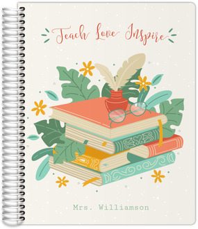 Tropical Book Stack Teacher Planner