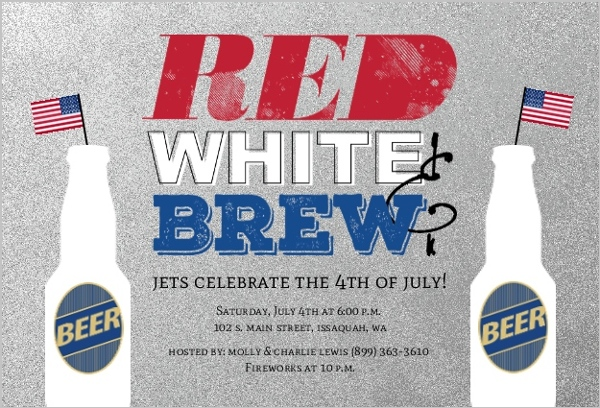 faux silver red white brew 4th of july invitation 4th of july