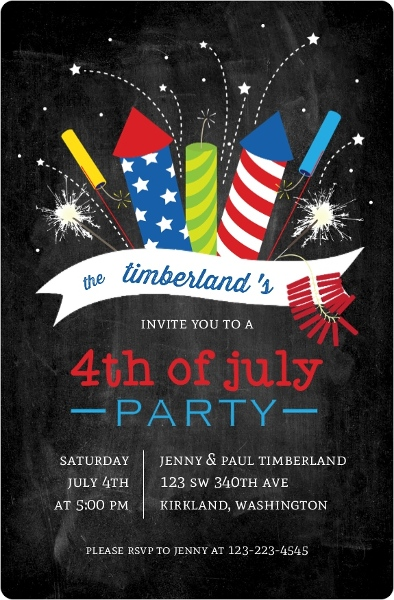 Cheerful Fireworks Fourth Of July Party Invitation 4th