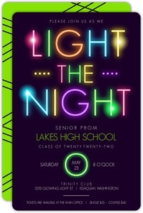 Bright Colors Light The Dark Typography Prom Invitation