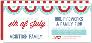 Patriotic Modern Flags Fourth of July Invites