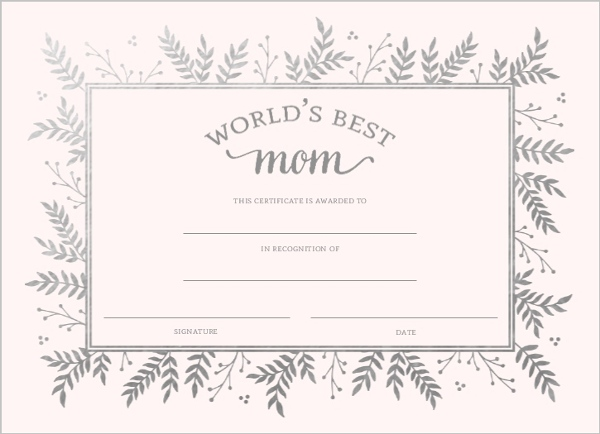 Best Mom Certificate Mothers Day Card Mothers Day Cards