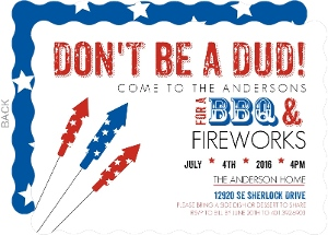 Patriotic Fireworks Fourth of July Invitations