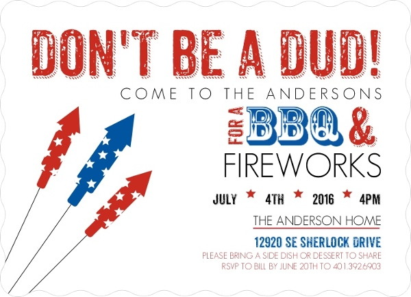 Patriotic Fireworks Fourth of July Invitations 4th of July Invitations