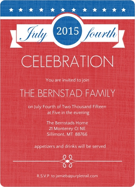 Blue and Red Stars and Banner Fourth of July Invite