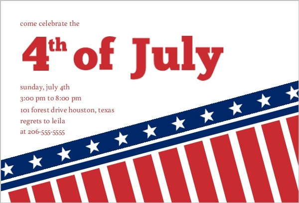 American Flag Fourth Of July Invite 4th of July Invitations
