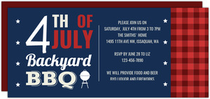 Patriotic Backyard Picnic Fourth of July Party Invitation