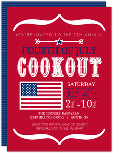 Modern Brackets and Flag Fourth of July Invitation