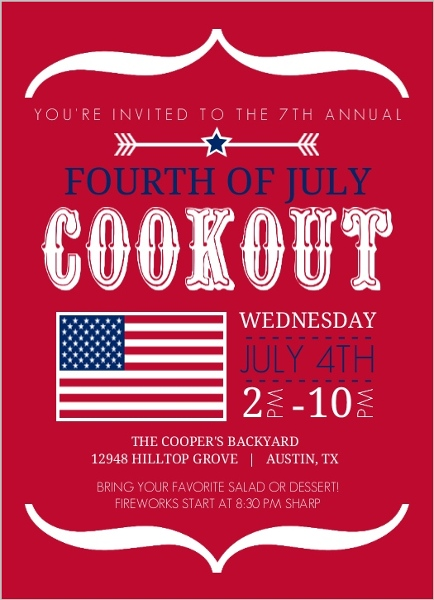 Modern Brackets And Flag Fourth Of July Invitation 4th of July