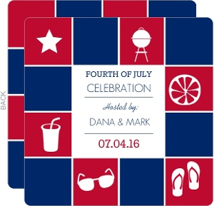 Red and Blue Summer Icons Fourth of July Invite