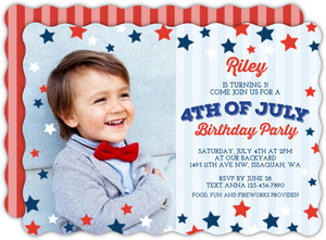 Red White Blue Stars Fourth Of July Party Invitation