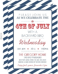 Navy Stripes Fourth Of July Invitation