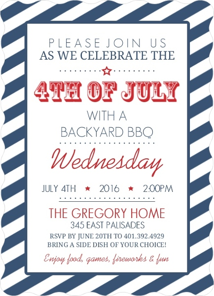 navy stripes fourth of july invitation 4th of july invitations