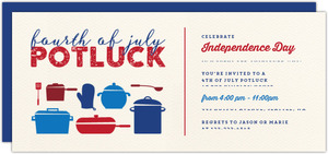 Potluck Pots & Pans 4th of July Party Invitation