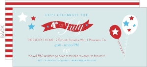 Stars And Balloons Fourth Of July Invitation