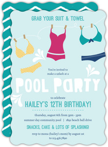 Playful Swimsuits Pool Party Invitation