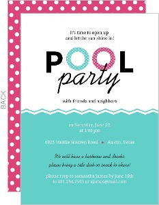 Floaties Pink And Turquoise Pool Party Invitation