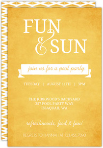 Bright Yellow Typographic Pool Party Invitation