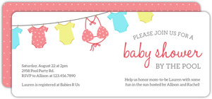 Polka Dot Onesies Pool Party Baby Shower invitation