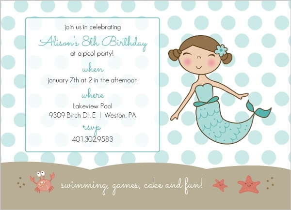 Blue Mermaid And Dots Kids Pool Party Invitation Pool Party