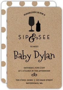 Bottle Icons Sip and See Party Invitation