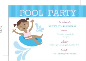 Teal Pool Party Birthday Invite