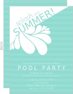Turquoise Modern Splash Pool Party Invite