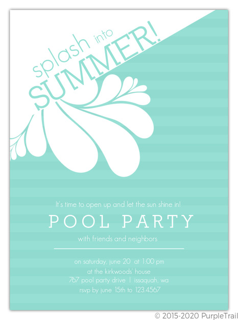 Turquoise Modern Splash Pool Party Invite  Pool Party Invitations