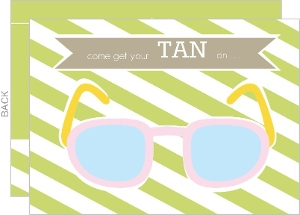 Striped Sunglasses Pool Party Invitation