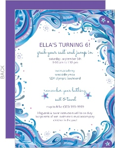 Blue Swirly Swim Party Invitations - 4424
