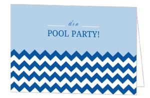 Blue And White Chevron Pattern Pool Party Invite