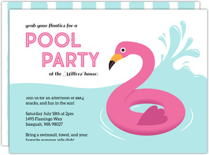 Flamingo Floatie Pool Party Invitation