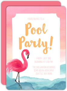 Watercolor Flamingo and Sunset Pool Party Invitation