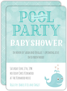 Diving Into Parenthood Pool Party Invitation