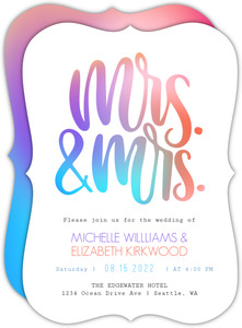 Mrs and Mrs Colorful Wedding Invitation
