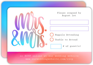 Mrs and Mrs Colorful Wedding Response Card