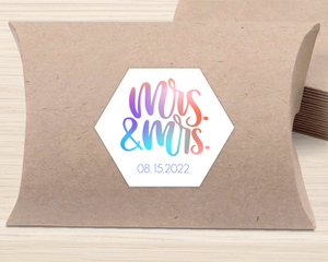Mrs and Mrs Colorful Wedding Favor Label