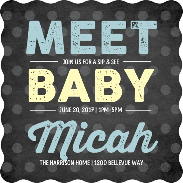 chalkboard type sip and see baby boy shower invitation couples
