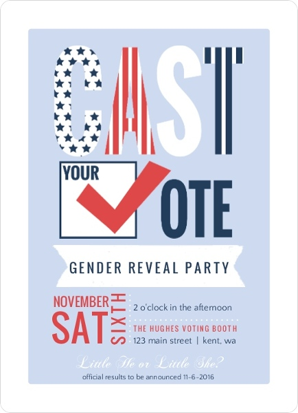word using letters cast your vote patriotic gender reveal invitation 44376