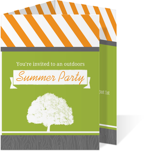 Green And Orange Retro Outdoors Summer Party Invitation