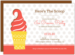 Pink and Brown Ice Cream Cone Summer Party Invitation