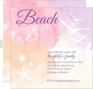 Purple And Pink Watercolor Beach Party Invitation