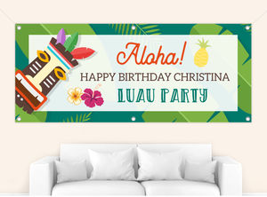 Tropical Tiki Luau Birthday Banner