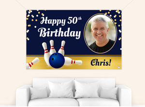 Fancy Bowling Photo Birthday Banner