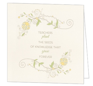 Floral Quote Teacher Thank You Card