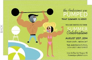 Green Muscle Man And Woman Summer Party Invite