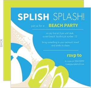 Blue And Green Summer Party Invite