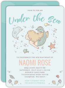 Under The Sea Mermaid Summer Birthday Party Invitation