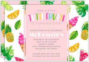 Tutti Frutti Summer Birthday Party Invitation